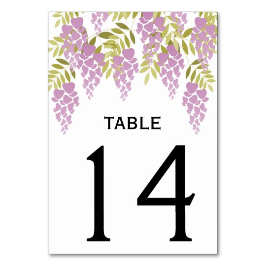 Purple wisteria spring floral wedding table number