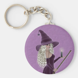 Purple Witch holding a Candle Keychain