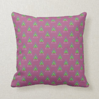 Purple with Blue, Green and White Triangles Throw Pillow