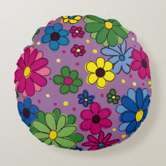 Purple with Brightly Colored Flowers Pillow