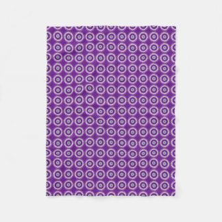 Purple with Cream and Green Circle Design Throw Fleece Blanket
