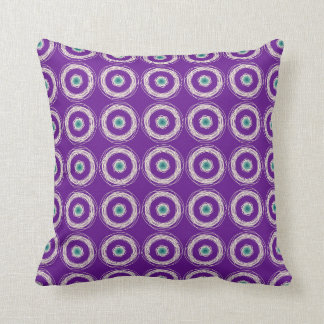 Purple with Cream and Green Circle Design Throw Pillow