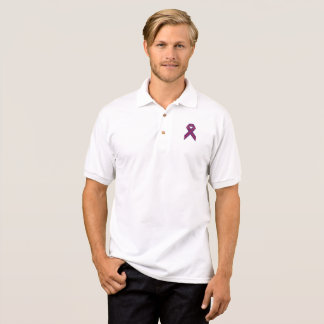 Purple With Red Stripe Awareness Ribbon Polo Shirt