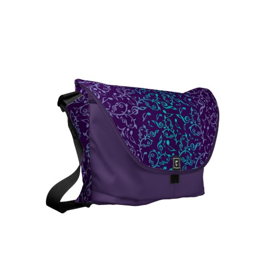 Purple With Turquoise Music Notes Messenger Bag