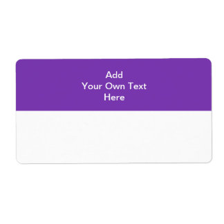 Purple with white area and text shipping label