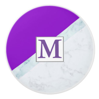 Purple With White Marble Monogram Ceramic Knob