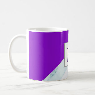 Purple with White Marble Monogram. Coffee Mug