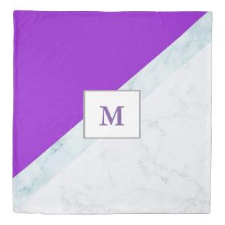 Purple With White Marble Monogram Duvet Cover