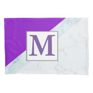 Purple With White Marble Monogram Pillowcase