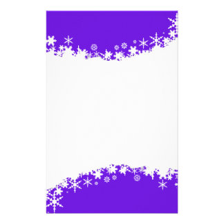 Purple with White Snowflake Stationery