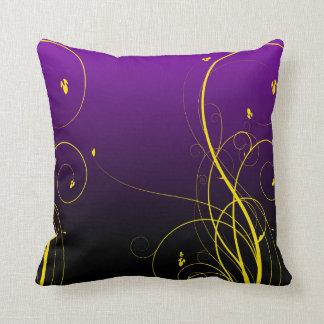 Purple with Yellow Flourish Design Throw Pillow
