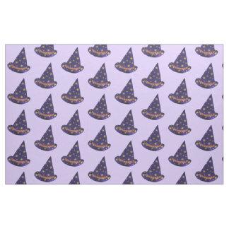 Purple Wizard Hat Yellow Stars Halloween Fabric