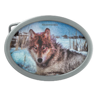 Purple Wolf With Yellow Eyes In Winter Painting Oval Belt Buckle