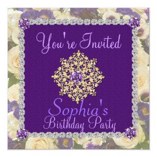 Purple Women's 50th Birthday Invitation Bling