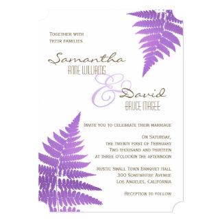 Purple Woodland Wedding Fern Invitation