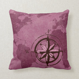 Purple World Map Decor Pillow