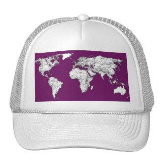 Purple world map trucker hat