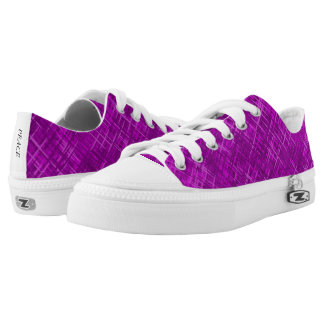 Purple Woven Pattern Low Top Canvas Shoes