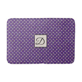 Purple Woven Rattan on Custom Color with Monogram Bath Mat