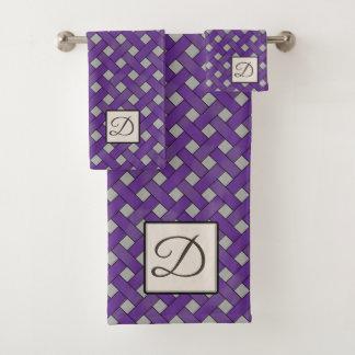 Purple Woven Rattan on Custom Color with Monogram Bath Towel Set