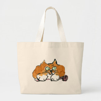 Purple Yarn and a Fiesty Orange Cat Jumbo Tote Bag
