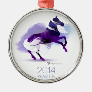 PURPLE YEAR OF THE HORSE METAL ORNAMENT
