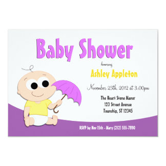 Purple & Yellow Baby Umbrella - Shower Invitations