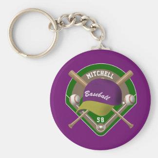 Purple  Yellow Baseball Diamond Player Name Number Keychain