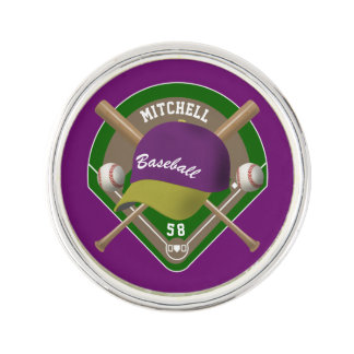 Purple |Yellow Baseball Diamond Player Name Number Lapel Pin