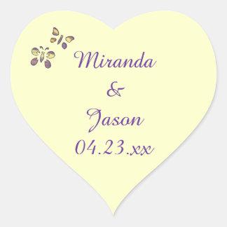 Purple Yellow Butterflies Save the Date Wedding Heart Sticker