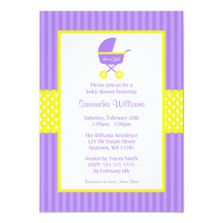 Purple Yellow Carriage Striped Dots Baby Shower Card