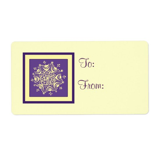 Purple Yellow Christmas Gift Tag Labels