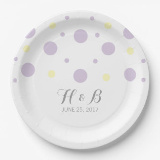Purple Yellow Confetti Wedding Paper Plates