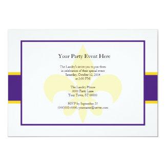 """Purple Yellow Fleur de Lis Party Time 5"""" X 7"""" Invitation Card"""