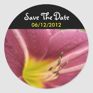 Purple-Yellow Flower Save The Date Wedding Sticker