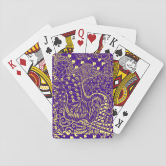 Purple Yellow Hippie Design on Playing Cards