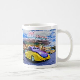 purple-yellow hotrod at drive-in coffee mug
