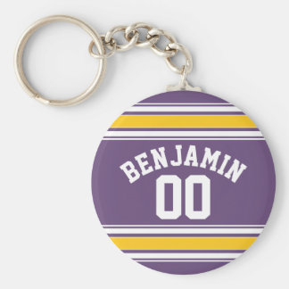 Purple Yellow Jersey Stripes Custom Name Number Basic Round Button Keychain