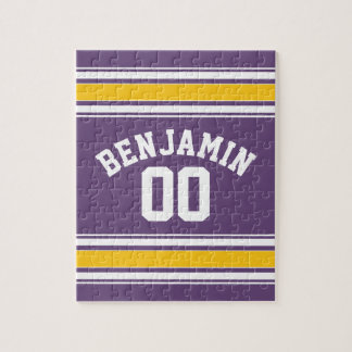 Purple Yellow Jersey Stripes Custom Name Number Jigsaw Puzzle