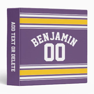 Purple Yellow Jersey Stripes Custom Name Number Vinyl Binder