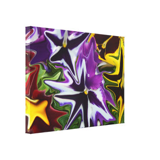 Purple Yellow Liquefied Pansies Abstract Art, Canvas Print