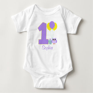 Purple Yellow Mint Owl Polka Dot 1st Birthday Girl Tshirts