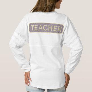 Purple + Yellow Monogram Apple Quatrefoil Teacher Spirit Jersey