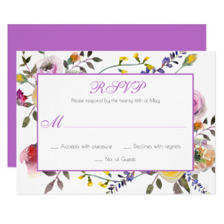 Purple Yellow Peach Roses Greenery RSVP | Card