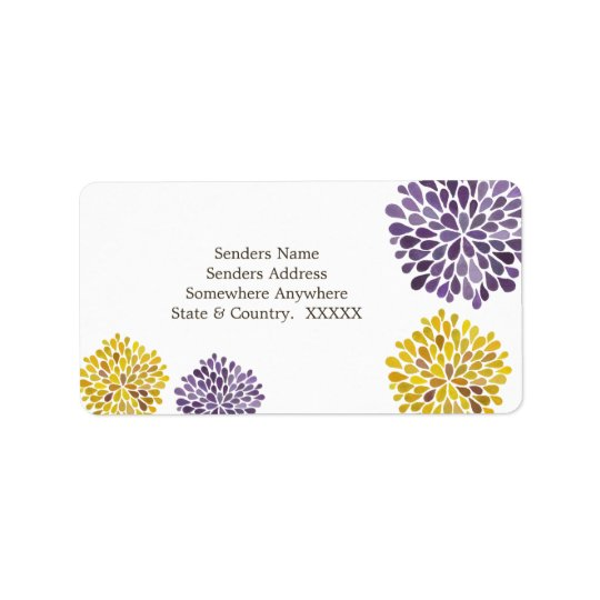 Purple & Yellow Petal Blooms Address Labels