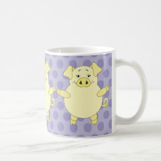 Purple & Yellow Pig Polkadots Coffee Mug