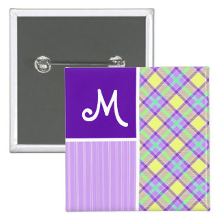 Purple & Yellow Plaid Button