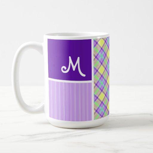 Purple & Yellow Plaid Coffee Mugs