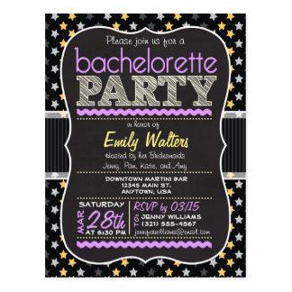 Purple, Yellow Stars Bachelorette Party Invitation Postcard