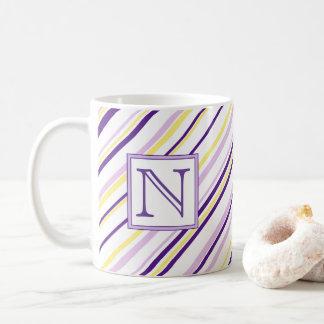 Purple & Yellow Stripe Monogram Mug